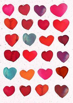 watercolor hearts_samantha hahn by samlovesherdog, via Flickr