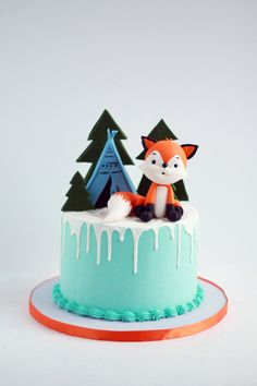 Woodland themed chocolate drip birthday cake with fondant fox figurine and tepee. Woodland themed chocolate drip birthday cake with fondant fox figurine and tepee. Fondant Cakes, Cupcake Cakes, Woodland Theme Cake, Baby First Birthday Cake, Fox Cake, Chocolate Drip Cake, Drip Cakes, Celebration Cakes, Cake Smash