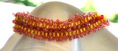 Bead Woven Bracelet Red Bead Woven Bracelet Gold Bead Woven Bracelet