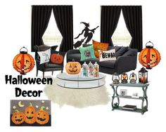 """""""halloweennnnnnnnnn #halleoweendecor"""" by lindacorp on Polyvore featuring interior, interiors, interior design, home, home decor, interior decorating, Eclipse, Gervasoni, Frontgate and SCP"""