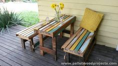 DIY Pallet Picnic Table and Benches