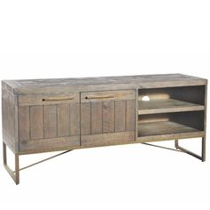 Large wooden TV Cabinet made with a bronze gold effect steel frame. Industrial TV Stand that comes Handcrafted and rough sawn finish. Living Room Storage, Table Storage, Industrial Tv Stand, Saw Wood, Tavistock, Blanket Box, Media Cabinet, Cabinet Making, Tv Cabinets