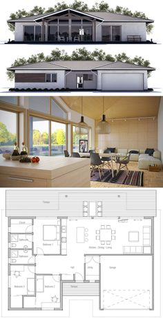 Small House Plan - House Plans, Home Plan Designs, Floor Plans and Blueprints Modern House Plans, Small House Plans, House Floor Plans, House Blueprints, Farmhouse Plans, Planer, Building A House, Architecture Design, New Homes