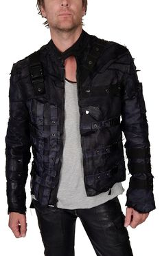 "Men's Junker Designs - ""TACTICAL JACKET"" - in Blue and Black Leather"