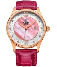 BINGER Womens Date Mother Pearl Dress Watch Red Rose Gold Roman Numerals Sapphire Crystal Leather Strap ** Find out more about the great product at the image link. (This is an Amazon Affiliate link and I receive a commission for the sales)