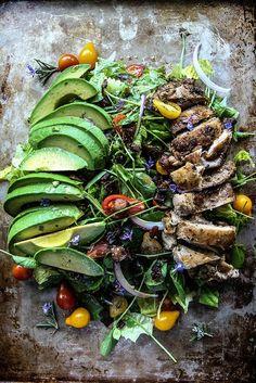 Rosemary Chicken, Avocado and Bacon Salad | heatherchristo.com