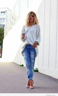 Jeans and white sweater. LOVE
