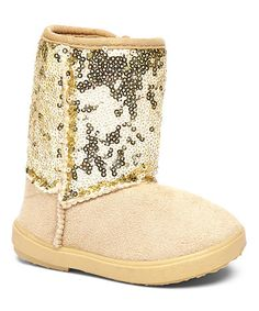 Love this Gold Zip-Up Sequin Bootie by Shoe Box Trading on #zulily! #zulilyfinds