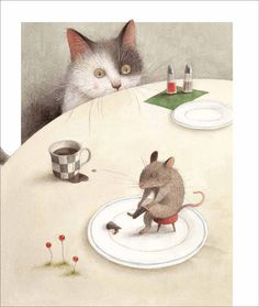 """1980 Illustration by Ayano Imai from """"Puss in Boots"""" - the artist lives & works in Japan Illustration Mignonne, Children's Book Illustration, Book Illustrations, Art Fantaisiste, Art Mignon, Cat Mouse, Whimsical Art, Crazy Cats, Cat Art"""