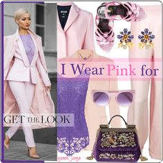 I Wear Pink for by goreti on Polyvore featuring STELLA McCARTNEY, MSGM, Chanel, Yves Saint Laurent, Dolce&Gabbana, Derek Lam and IWearPinkFor