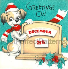 Digital Image  Cute Puppy Dog December 25th by PastPerfectPatterns