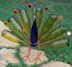 Wine Bottle Peacock Yard Art