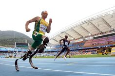 """South African runner Oscar Pistorius is headed to the London Olympics and will become the first amputee track athlete to compete at the games. He was selected to run both the 400 and 4x400 relay by South Africa's Olympic committee on July 4. """"Today is really one of the happiest days of my life!"""" he wrote on Twitter. (Michael Steele/Getty Images)"""