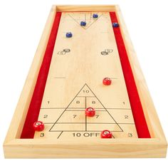 Tabletop Shuffleboard Game - Portable Compact Desktop Pinewood Competition Board Game for Kids and Adults by Hey! Play!, Blue