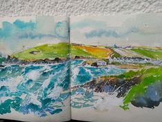 Well here's the painting Trevone bay Cornwall. www.sheilagill.co.uk/ #SheilaGill #TrevoneBay #Cornwall