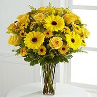 Gorgeous yellow roses and gerbera daises are accented with the golden hues of Viking chrysanthemums and solidago arranged with lush greens in a clear glass square tapered vase to create a splendid way to brighten their day. Next Day Flowers, Get Well Flowers, Fall Flowers, Summer Flowers, Yellow Flowers, Cheap Flowers, Flowers Garden, Beautiful Flower Arrangements, Floral Arrangements