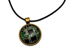 Techie Computer Circuit Board Pendant Necklace. by thelongwayround
