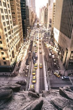 Looking out above Park Avenue South from inside Grand Central's clock tower, New York