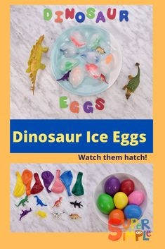 These super simple frozen dinosaur ice eggs are perfect for playing paleontologist! They are easy to make, and children will love helping the ice melt by dripping warm water onto the ice egg, and watching the dinosaur inside slowly reveal itself. Real paleontologists have also made dinosaur discoveries that have been trapped in ice and glaciers. Remind your little ones that paleontologists have to be very careful with their discoveries, so treat the ice eggs with care! Dinosaur Activities, Craft Activities For Kids, Preschool Activities, Dino Eggs, Dinosaur Eggs, Toddler Stuff, Kid Stuff, Frozen Balloons, Ice Melt