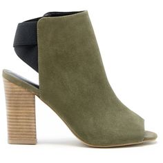 Sole Society Dakota Elastic Shoetie (€81) ❤ liked on Polyvore featuring shoes, boots, ankle booties, olive, suede boots, olive green suede booties, suede open toe booties, olive green ankle boots and suede ankle boots