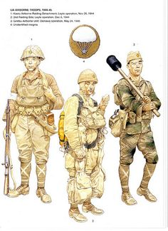 artwork from a osprey series book showing japanese army paratroopers during the late war period