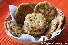 Baked Savory Onion Crackers (Nippatu) - eggless, need to sub for wheat flour