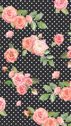 Floral black polka dot background wallpaper