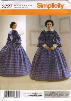 Simplicity 3727 Civil War Gown Pagoda Sleeves, White Collar and Undersleeves by CedarSewing on Etsy
