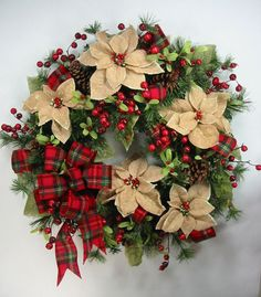 Natural Burlap Poinsettia Red Flannel Plaid Ribbon Christmas Wreath by Ed Christmas Wreaths To Make, Christmas Decorations For The Home, Holiday Wreaths, Rustic Christmas, Christmas Projects, Winter Christmas, Handmade Christmas, Holiday Crafts, Christmas Time