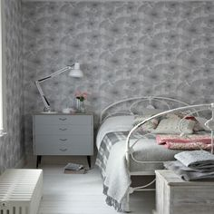 Beautiful grey bedroom created using the very lovely Poppy Flower wallpaper design by Little Greene. Wallpaper Design For Bedroom, Modern Bedroom Design, Of Wallpaper, Wallpaper Ideas, Flower Wallpaper, Wallpaper Designs, Modern Wallpaper, Contemporary Bedroom, Black Bedroom Furniture