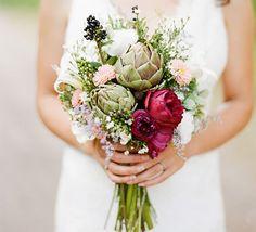 Simplicity and elegance transform the average bouquet when ornate artichokes take over.