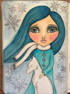 Winter Soul Flakes with Tamara Laporte @willowing.org. Neo color ll, color pencil, acrylics