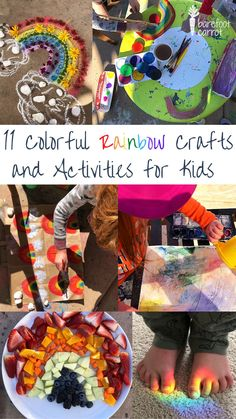 Brighten any day with these fun and easy rainbow-theme activities and crafts. Kids will love exploring new painting techniques, trying new chalk art ideas, and even a rainbow-theme playlist. Rainbow Toys, Rainbow Snacks, Rainbow Activities, Rainbow Crafts, Rainbow Theme, Rainbow Art, Activities For Kids, Crafts For Kids, Nature Collage