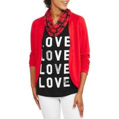 No Boundaries Juniors' Cozy Cardigan, Graphic Tank & Scarf 3Fer, Size: 2XL, Red