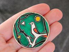 Bird, Vintage pinback button from USSR, 70s