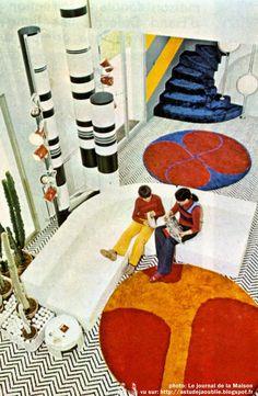 home Chantilly - Maison dHenri Delord Dcoration: Garrault-Delord: Henri Delord, Jean-Pierre Garrault Cration: 1972 Mid-century Interior, Vintage Interior Design, Modern Interior, 70s Home Decor, 1970s Decor, Deco Retro, Retro Art, Retro Room, Retro Futurism
