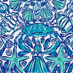 17 X 18 inch piece of Lilly Pulitzer fabric Shorely Blue Sailor's Valentine. Not affiliated with Lilly Pulitzer Inc. Lilly Pulitzer Patterns, Lilly Pulitzer Prints, Lily Pulitzer, Bathroom Art, Mermaid Bathroom, Print Patterns, Pattern Designs, Canvas Art, Painted Canvas