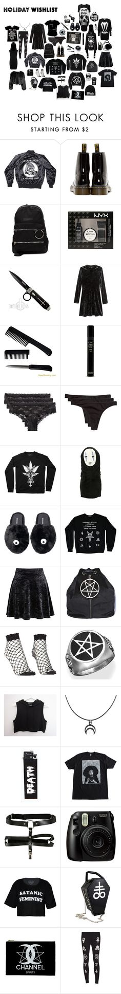 """Untitled #383"" by void-witch ❤ liked on Polyvore featuring Actual Pain, Dr. Martens, UNIF, H&M, Oribe, Ghibli, Dolly Bae, Pamela Mann, Fujifilm and Disturbia"