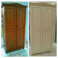 Pine wardrobe Annie Sloan chalk paint Old White then dry brushed with Country Grey to give the aged look. Furniture Disposal, Furniture Fix, Bedroom Furniture Makeover, Painted Bedroom Furniture, Pine Furniture, Recycled Furniture, Colorful Furniture, Cheap Furniture, Painting Furniture