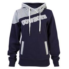 Women's Dallas Cowboys Gray/Navy Blue Firethorn Pullover Hoodie from Official NFL Shop. Dallas Cowboys Sweatshirt, Dallas Cowboys Outfits, Dallas Cowboys Pictures, Dallas Cowboys Women, Cowboy Outfits, Dallas Cowboys Coats, Fall Outfits, Cowboy Gear, Cowboy Shoes