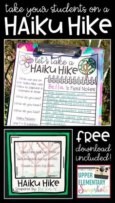 Take your students on a Haiku Hike during National Poetry Month. This fun and engaging activity is perfect for teaching students about this form of poetry, and helps encourage them to write poems of their own. Perfect for the upper elementary classrooms, 4th Grade Ela, 5th Grade Writing, 4th Grade Reading, 5th Grade Poetry, Teaching 5th Grade, Elementary Teaching, Grade 3, 5th Grade Centers, Elementary Schools
