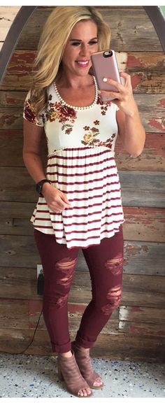 Distressed Cuffed Burgundy Skinnies from privityboutique