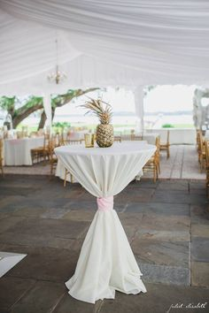 Cocktail Hour | Lily Pulitzer | Pineapple Centerpieces | Light Pink Gold Ivory Wedding