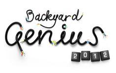 Handmade font lettering for the popular mechanics. Backyard genius.