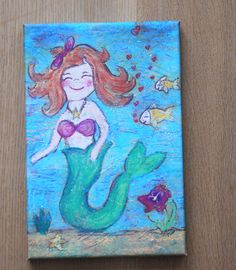 Leinwanddruck: Meerjungfrau von Little Walking Wolf - schöne Sachen fürs Kinderzimmer & Co. auf DaWanda.com