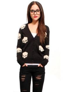 Skull Cardigan sweater, red lips, geek glasses recipe for a great outfit
