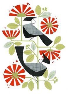 Two Tuis Print by Holly Roach - Prints & Posters NZ Art Prints, Design Prints, Posters & NZ Design Gifts Poster Prints, Art Prints, Lino Prints, Nature Prints, Nz Art, Scandinavian Folk Art, Mid Century Art, Bird Illustration, Canadian Artists