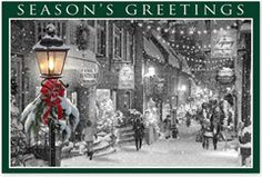 Main Street Glow Christmas Cards.   • Size: 6 x 4 • Choose your verse from our list • This product does not offer a logo • Fast delivery: Most card orders ship in 3 business days • Return address information appears on top • Verse in the middle, and promotional lines below the verse choice • Select quantity of holiday postcards below • Personalization prints in black ink only • Address Line 1 - Line 4 is for return address • Message Line 1 and Line 2 is for personalized message.