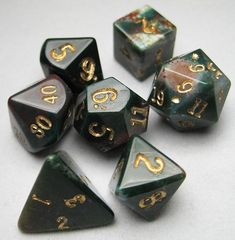 Dwarven Stone Dice: 12mm Bloodstone Polyhedral 7-Die Set