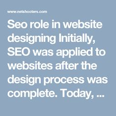 Seo role in website designing Initially, SEO was applied to websites after the design process was complete. Today, Seo services in Chandigarh are being incorporated into the web design process. This makes it easier for a website to rank high in search results almost immediately it's indexed. #TopSeoCompanyinChandigarh #SeoCompanyinmohali #SeoservicesChandigarh #SeoCompanyinchandigarh